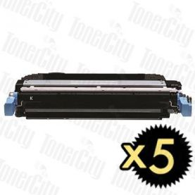 HP 643A (Q5950A) Black 5 Pack Compatible Toner Cartridge