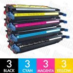 HP 501A + 503A (Q6470A + Q7581A-Q7583A) 12 Pack Compatible Toner Cartridge Combo