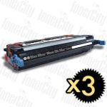 HP 501A (Q6470A) Black 3 Pack Compatible Toner Cartridge