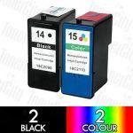 Lexmark 14 Black + 15 Colour (4 Pack) Compatible Inkjet Cartridge Combo