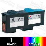 Lexmark 82 Black + 83 Colour (2 Pack) Compatible Inkjet Cartridge Combo