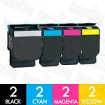 Lexmark C540A1KG-C540A1YG 8 Pack Compatible Toner Cartridge Combo