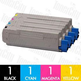 OKI 43459312 + 43459353-355 (C3300/C3400/C3600) High Yield 4 Pack Compatible Toner Cartridge Combo