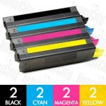 OKI 43865725-43865728 (C5850/C5950/MC560) 8 Pack Compatible Toner Cartridge Combo