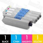OKI 44469805 + 44469755-757 (C310DN/C330DN/MC361/MC362DN/C331DN) 4 Pack Compatible Toner Cartridge Combo