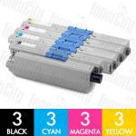 OKI 44469805 + 44469755-757 (C310DN/C330DN/MC361/MC362DN/C331DN) 12 Pack Compatible Toner Cartridge Combo