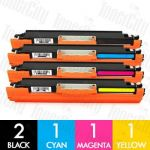 Compatible HP 126A (CE310A-CE313A) 5 Pack Toner Cartridge Combo