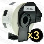 Compatible 3 x Brother DK-11221 White Label Roll 23mm x 23mm