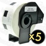 Compatible 5 x Brother DK-11221 White Label Roll 23mm x 23mm