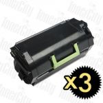 Lexmark 62D3H00 (MX710/MX711/MX810/MX811/MX812) High Yield 3 Pack Compatible Toner Cartridge