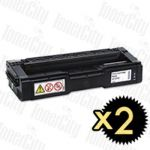 Ricoh 406483 Black 2 Pack Compatible Toner Cartridge