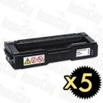 Ricoh 406483 Black 5 Pack Compatible Toner Cartridge