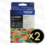 Brother LC-40BK Black 2 Pack Genuine Inkjet Cartridge