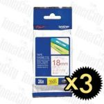 3 x Brother TZe-242 (18mm) Red Text on White Genuine Tape