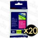 20 x Brother TZe-MQP35 (12mm) White Text on Berry Pink Genuine Tape