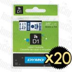 20 x Dymo SD40914 (9mm x 7m) Blue Text on White Genuine Label Cassette