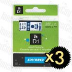 3 x Dymo SD40914 (9mm x 7m) Blue Text on White Genuine Label Cassette