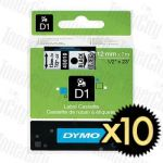 10 x Dymo SD45010 (12mm x 7m) Black Text on Clear Genuine Label Cassette