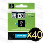 40 x Dymo SD45010 (12mm x 7m) Black Text on Clear Genuine Label Cassette
