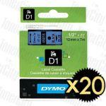 20 x Dymo SD45016 (12mm x 7m) Black Text on Blue Genuine Label Cassette