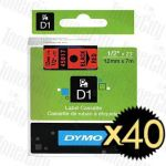 40 x Dymo SD45017 (12mm x 7m) Black Text on Red Genuine Label Cassette