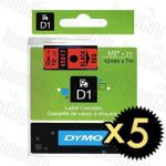 5 x Dymo SD45017 (12mm x 7m) Black Text on Red Genuine Label Cassette