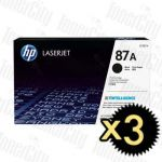 HP 87A (CF287A) Black 3 Pack Genuine Toner Cartridge