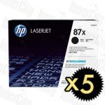 HP 87X (CF287X) Black High Yield 5 Pack Genuine Toner Cartridge