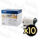 10 x Brother DK-11240 (102mm x 51mm) White Genuine Label Roll