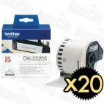 20 x Brother DK-22205 (62mm x 30.48m) White Genuine Label Roll
