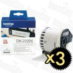 3 x Brother DK-22205 (62mm x 30.48m) White Genuine Label Roll