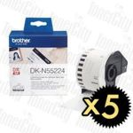 5 x Brother DK-N55224 (54mm x 30.48m) White Genuine Label Roll Non-Adhesive