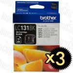 Brother LC-131BK Black 3 Pack Genuine Inkjet Cartridge