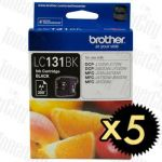 Brother LC-131BK Black 5 Pack Genuine Inkjet Cartridge