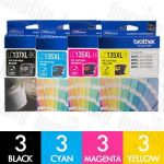Brother LC-137XL + LC-135XL High Yield 12 Pack Genuine Inkjet Cartridge Combo