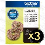 Brother LC-233BK Black 3 Pack Genuine Inkjet Cartridge