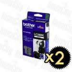 Brother LC-38BK Black 2 Pack Genuine Inkjet Cartridge