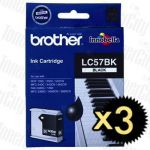 Brother LC-57BK Black 3 Pack Genuine Inkjet Cartridge