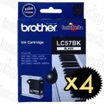 Brother LC-57BK Black 4 Pack Genuine Inkjet Cartridge