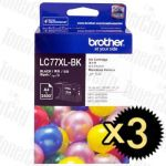 Brother LC-77XLBK Black Extra High Yield 3 Pack Genuine Inkjet Cartridge