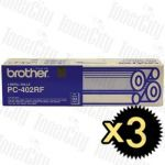 3 x Brother PC-402RF (2 rolls/pack) Genuine Thermal Printing Ribbons
