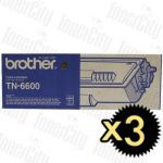 Brother TN-6600 3 Pack Genuine Toner Cartridge