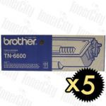 Brother TN-6600 5 Pack Genuine Toner Cartridge
