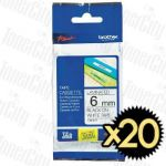 20 x Brother TZe-211 (6mm) Black Text on White Genuine Tape