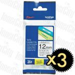 3 x Brother TZe-231 (12mm) Black Text on White Genuine Tape