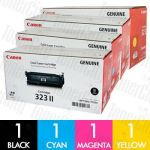 Canon CART-323IIBK + CART-323 C/M/Y 4 Pack Genuine Toner Cartridge Combo