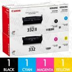 Canon CART-332IIBK + CART-332 C/M/Y 4 Pack Genuine Toner Cartridge Combo