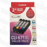 Canon CLI671XLVP Value Pack High Yield Genuine Inkjet Cartridges