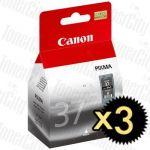 Canon PG-37 Black 3 Pack Genuine Inkjet Cartridge