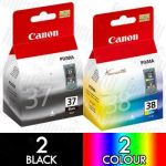 Canon PG-37 + CL-38 (4 Pack) Genuine Inkjet Cartridge Combo